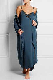 Primula satin-trimmed stretch-modal jersey robe