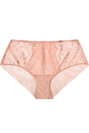 Begonia lace-paneled stretch-tulle briefs