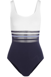 Kosmos striped mesh-paneled swimsuit