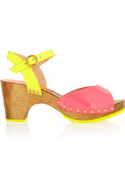 Ava Fluoro patent-leather sandals
