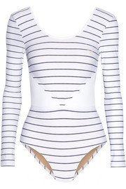 Leda mesh-trimmed striped stretch bodysuit