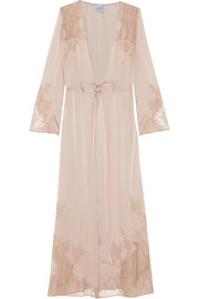 Chantilly lace-trimmed silk-satin robe