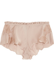 Carine Gilson Lace-trimmed silk-satin shorts
