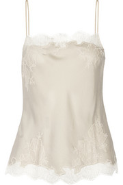 Lace-trimmed silk-satin camisole