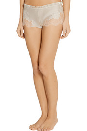 Lace-trimmed silk-satin shorts