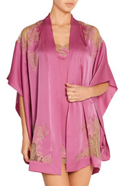 Lace-paneled silk-satin robe