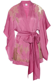 Carine Gilson Lace-paneled silk-satin robe