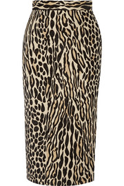 Algras leopard-jacquard pencil skirt