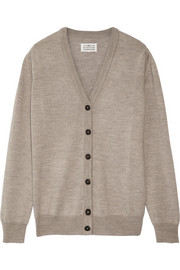 Satin-trimmed wool cardigan