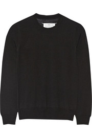 Satin-trimmed wool sweater