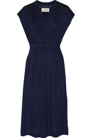 Ruched wool and silk-blend jersey dress