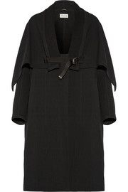 Quilted wool-blend coat