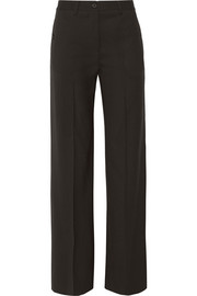 Wool-twill wide-leg pants