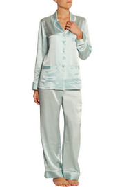 Ava silk georgette-trimmed silk-satin pajama set