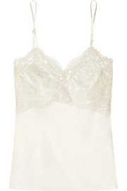 Mia lace-paneled silk-satin camisole