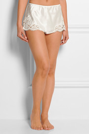 Mia lace-trimmed silk-satin shorts