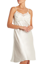 Grace lace-paneled silk-satin chemise