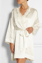 Audrey lace-trimmed silk-satin robe