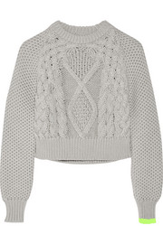 Cropped chunky-knit cotton sweater