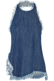 Asymmetric frayed denim halterneck top
