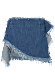 Asymmetric frayed denim mini skirt