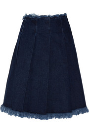 Pleated frayed denim skirt