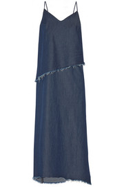 Frayed denim maxi dress
