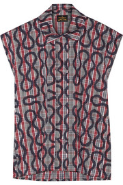 Printed cotton-blend poplin shirt