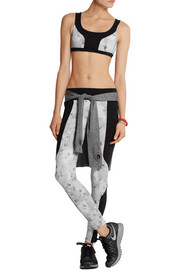 Floral-print stretch-jersey sports bra