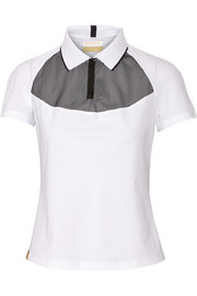 Monreal London Mesh-paneled stretch-jersey top