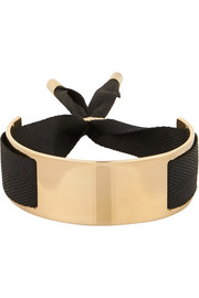 Gold-plated and grosgrain ribbon bracelet
