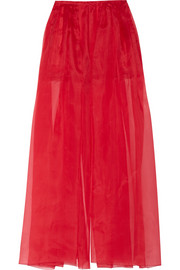 Silk-organza wide-leg pants