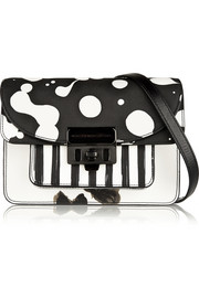 Lip Lock leather-trimmed printed PVC shoulder bag