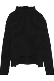 Asymmetric chunky-knit wool turtleneck sweater