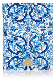 Dolce & Gabbana Printed textured-leather passport cover