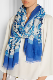 Printed modal and cashmere-blend scarf