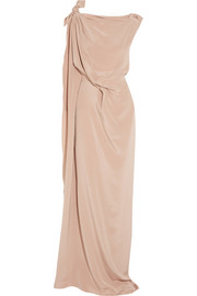 Silvabella draped silk-satin gown