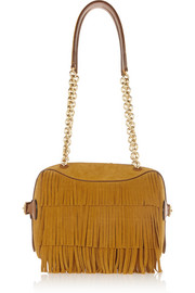 Fringed suede and leather shoulder bag