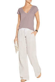 Cotton-gauze wide-leg pants