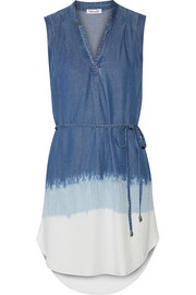 Dégradé washed-denim mini dress