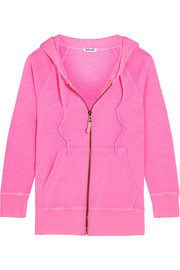 Neon slub cotton-jersey hooded top