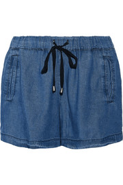 Washed-chambray shorts