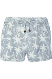 Pinstripe Palm printed Tencel shorts