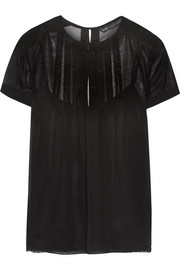 Pleated silk-georgette top