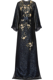 Embellished silk-chiffon lamé gown