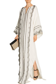Lace-trimmed stretch-silk georgette kaftan