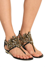 René Caovilla Embellished watersnake and leather sandals