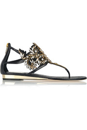 Embellished watersnake and leather sandals