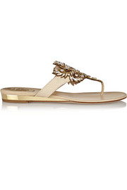 René Caovilla Swarovski crystal-embellished leather and snake sandals