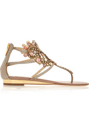 Crystal-embellished metallic ayers wedge sandals